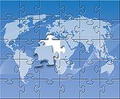 Puzzled globe