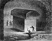 Tomb of an Apis ox in the Serapeum of Memphis, vintage engraving.