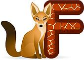 Fox with alphabet F