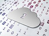 Cloud technology concept: Golden Cloud With Keyhole on Binary Code background