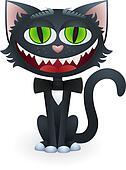 Cartoon Black Cat with Bow Tie