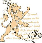royal lion with scroll ornate emblem