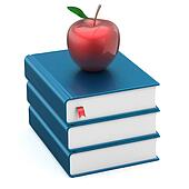 Textbooks blank blue book stack and red apple education