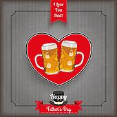Vintage Ribbon Heart Beer Father's Day