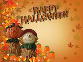 Halloween Border Pumpkin Scarecrow 3D text