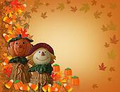 Halloween Border Pumpkin Scarecrow