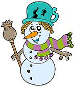 Cute snowman with scarf and broom