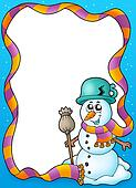 Winter frame with cute snowman