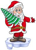 Santa with Christmas tree on iceberg