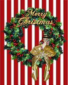 Merry Christmas Wreath gold text