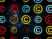 Law concept: Copyright icons on Digital background