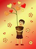 boy holding a heart flower pot