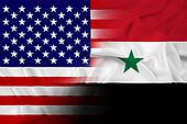 Waving USA and Syria Flag