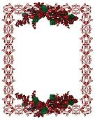 Christmas Holiday Border holly berries