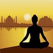 human doing yoga with taj mahal background, lake side