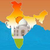 Taj Mahal, agra, outline map of india