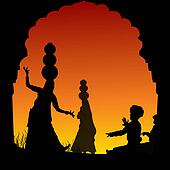 silhouette view of people performing folk dance and music, india