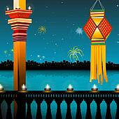 lamp lighting, lanterns, fireworks, balcony,festival - diwali