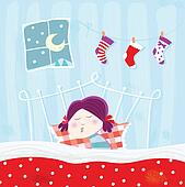 Sleeping child during christmas night