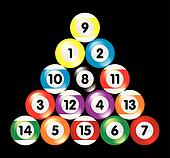 arranged billiard balls on black background