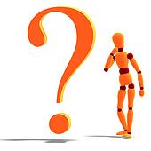 an orange red manikin standing by a question mark