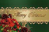 Christmas Border Green And Gold Satin