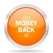 money back orange silver metallic metallic chrome web circle glossy icon