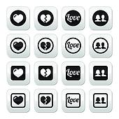 Love, heart, couple buttons for Val