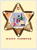 passover ,jewish star with objects.