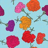 carnations seamless pattern