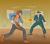 Cowboy in gunfight about to draw gun and being shot