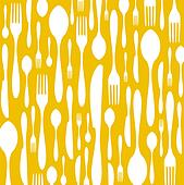 Cutlery pattern on yellow background