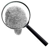 Magnifier and fingerprint isolated on white background