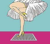 Marilyn Monroe legs style with flying dress