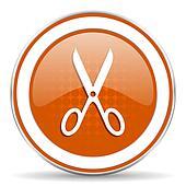 scissors orange icon cut sign