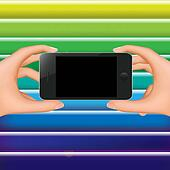Hands Holding Phone And Color Background