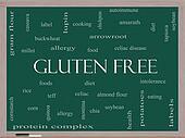 Gluten Free Word Cloud Concept on a Blackboard