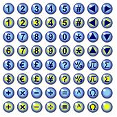 Number currency and mathematical symbol web buttons