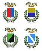 Four Italian heraldry shields