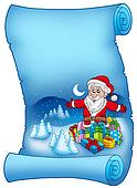 Blue parchment with Santa Claus 6