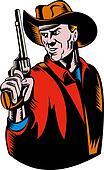 Cowboy with pistol gun