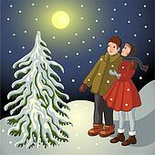 Children in snowy landscape