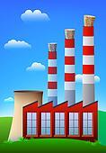 Cork in chimneys. Pollution stopper. Vector.