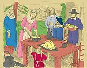 hand drawn illustration of Pilgrims celebrating first thanksgiving dinner