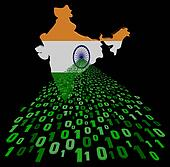 India map flag with green binary code foreground illustration