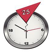 Vector cracked 25-hour clock