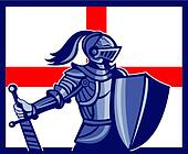 English Knight Holding Sword England Flag Retro
