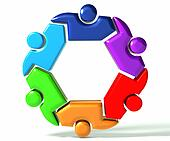 People teamwork business symbol 3D
