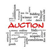 Auction Word Cloud Concept in red caps