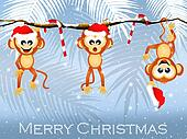 monkeys on liana at Christmas